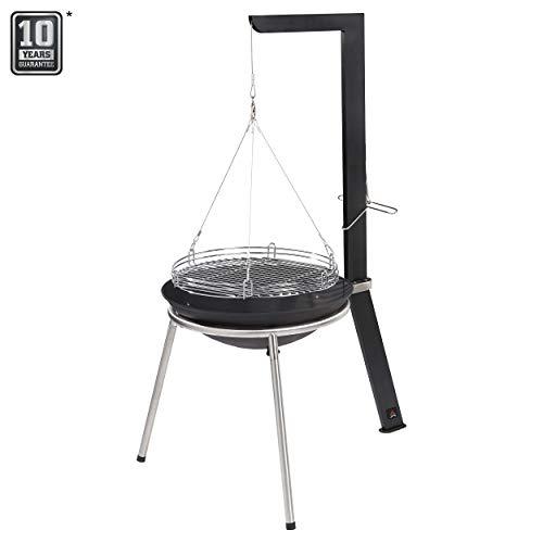 Jamestown CARTER Holzkohle-Schwenkgrill mit Seilzug inkl. Feststellmechanik | Hochwertiger Grill für ein Barbecue in kleiner und großer Runde