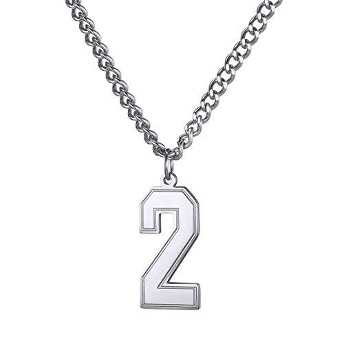 GoldChic Cadena con Colgante Cifras 0-9 Personalizable de Acero Inoxidable para Hombres Mujeres