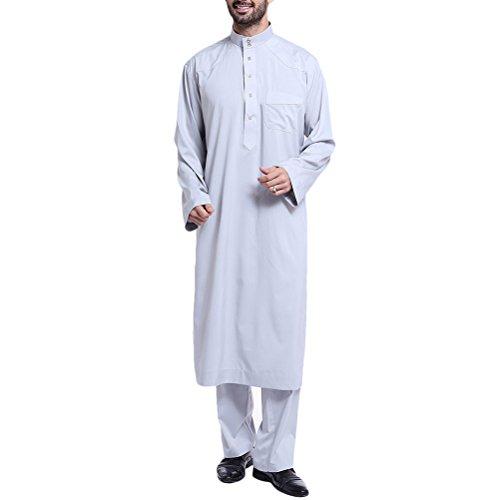 Zhuhaitf ファッション エスニックコスチューム Sets イスラム教徒 アラブ 中東 メンズ フルの長さ 通気性の ドバイ イスラム ローブ,2 piece