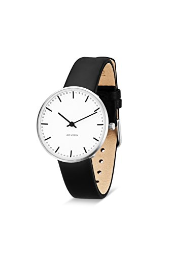 Arne Jacobsen 53201 Unisex-Quarz-Armbanduhr mit weißem analogen Zifferblatt, schwarzes Lederarmband