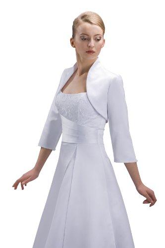 Bolero Jacke Braut Jacke fürs Brautkleid Material Satin - E55S (M, Creme)