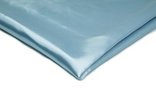 Satin-Stoff ohne Lycra Seidig, Schneiderei Dekostoff - Erhältlich in verschiedenen Farben - 50 x 150cm (Hellblau Nr 35)