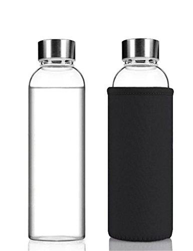 NYKKOLA draagbare glazen drinkfles reisbekers met nylon mouw zwart