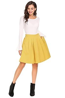 Womens Vintage Pleated Midi Skirt with Pockets