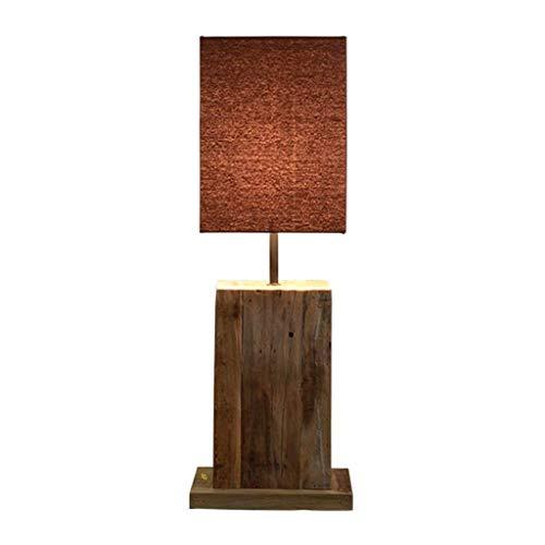 XuYuanjiaShop Lámpara de Mesa Retro Sombra de Madera Natural de Brown del Tambor for el Dormitorio Sala de Estar Familiar Gabinete de Noche Mesilla de Noche