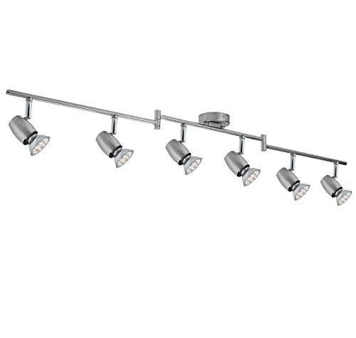 SEESEER LED Deckenleuchte, Schwenkbar,LED Deckenstrahler, 6- Flammig, inkl. 6 x 3W GU10 LED Leuchtmittel, 280LM,Warmweiß Lichtfarbe, Spotbalken, Deckenlampe, Deckenspot