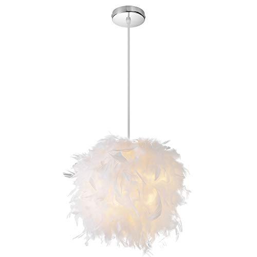Elitlife Federn Pendelleuchte Deckenleuchte Hängeleuchte Lampenschirm WarmWeiß Ø 25 cm Federn Tischleuchte Schlafzimmer Wohnzimmer(E27 5W Glühbirne Enthalten)