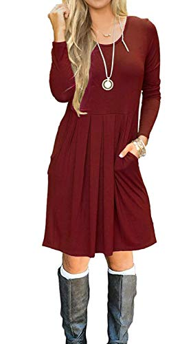 AUSELILY Women's Long Sleeve Pleated Loose Swing Casual Dress with Pockets Knee Length (L, Burgundy)