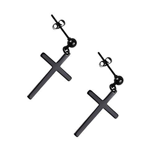 kowaku Pendientes Colgantes Cruzados para Hombre Y Mujer, Pendientes de Gota de Acero Inoxidable 316L,
