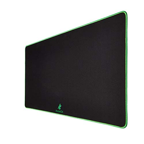 AnubisGX (39 Color/Size Options) Gaming Mouse Pad (XL: 36x18), Black Pad with Neon Green Stitching. Best Premium Waterproof Non RGB Computer Gaming XL Desk Pad Mat, Large Non-Slip Gamer Mousepad