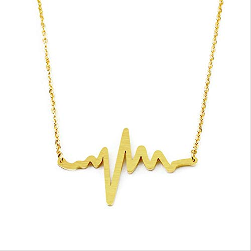 XIANGLIANDIAN Acero Inoxidable EKG Heartbeat Collar Enfermera Doctor Joyas Mujeres Clavícula Estetoscopio médico Heart Beat Wave Collares Pendientes Estados Unidos Color Dorado