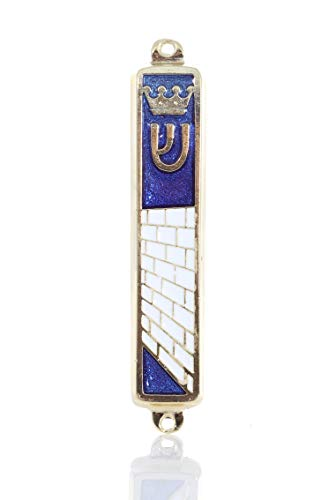 "Gold plated Mezuzah Mezuza Blue Case 7cm-2.7"" Judaica Jewish Torah Crown Kotel Design by body-soul-n-spirit"