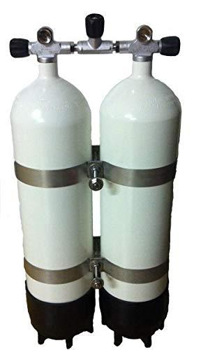 HTD Botellas de buceo dobles de 10 litros, puente bloqueable, abrazaderas V4A de 40 mm