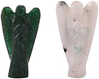 Aatm Estatuetas de pedra preciosa de cura natural com bolso de Guardião de Anjo (2 polegadas), Jade & Moonstone
