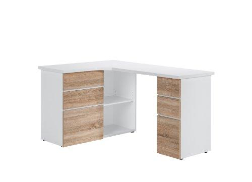 MAJA-Möbel 9543 3925 Schreib- und Computertisch, Icy-weiß - Sonoma-Eiche-Nachbildung, Abmessungen BxHxT: 145 x 76,6 x 101,5 cm