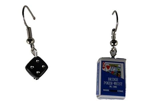 Ohrringe Ohrhänger Hänger Karte Kartenspiel Joker und Schachtel Verpackung und Würfel leicht am Ohr 8389