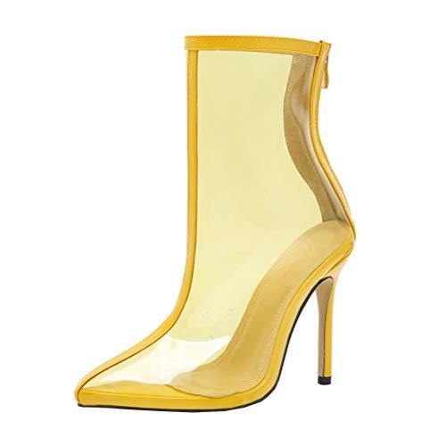 Dearney Damen Transparente Spitz Stiefeletten Sommer Stiletto Ankle Boots Sommerstiefeletten Kurzschaft Reißverschluss Hinten Damenschuhe(Gelb,40)