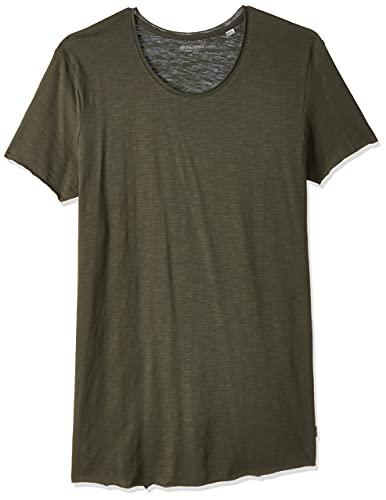JACK & JONES Herren Jjebas Tee Ss U-Neck Noos T-Shirt, Grün (Thyme Detail: Reg Fit), L