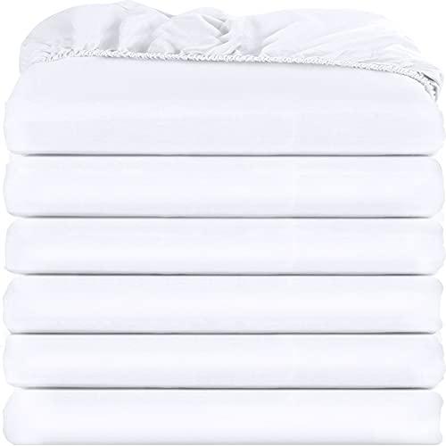 Utopia Bedding Dra-på-lakan (paket med 6) – djup ficka – lättskött mjukt borstat mikrofibertyg – krymp- och blekningsbeständigt – set med 6 (dubbel, vit)