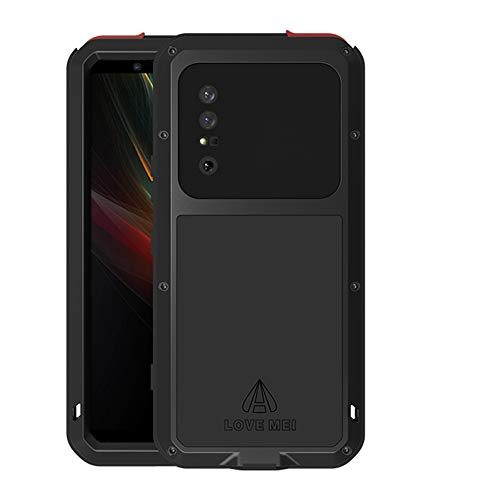 LOVE MEI for Sony Xperia 1 II 2020 Case, Hybrid Aluminum Metal Military Heavy Duty 360 Degree Full Body Protective Shockproof/Dustproof Cover Case with Tempered Glass for Sony Xperia 1 II (Black)