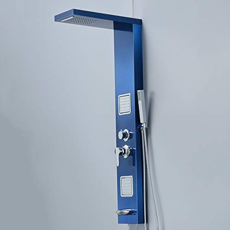 L.HPT Dusche Wandpaneele, Gebürstetem Nickel Regen Wasserfall Duschpaneel, Wand Montiert Massage System Wasserhahn, Handbrause Duschsule,Blau