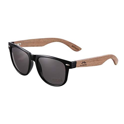 AMEXI Occhiali da sole in legno per uomini e donne polarizzati UV400 CAT 3 CE con astuccio, tessuto e borsa (grigio)