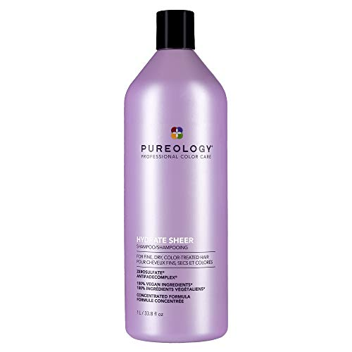 Pureology Hydrate Sheer Shampoo | For Fine, Dry, Color-Treated Hair | Lightweight Hydrating Shampoo | Silicone-Free | Vegan | Updated Packaging | 33.8 Fl. Oz