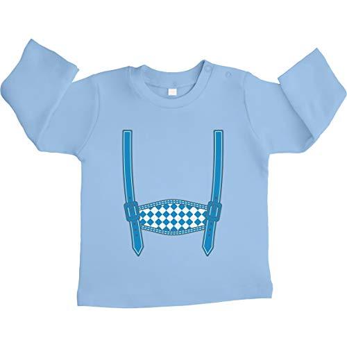 Shirtgeil leren broek vervanging - Oktoberfest Wiesn Baby Unisex baby shirt met lange mouwen maat 66-93