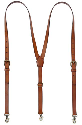 """Leather Suspenders For Men, Personalized Brown Genuine Leather, Groomsmen Gifts (L Fits 5'2""""-6'23"""", Brown)"""