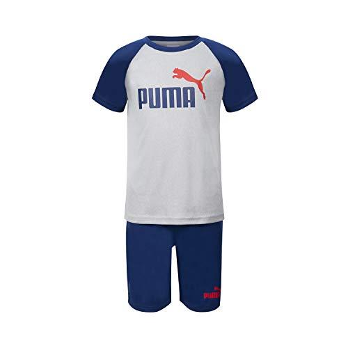 PUMA Boys' Performance SS Logo Tee & Athletic Short Set, Light Grey, 3T