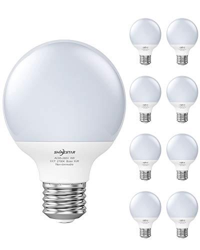 SHINESTAR 8-Pack Warm White LED Globe Light Bulbs for Bathroom, 60 Watt Equivalent, 2700K, E26 Base, Vanity Light Bulbs, Non-dimmable