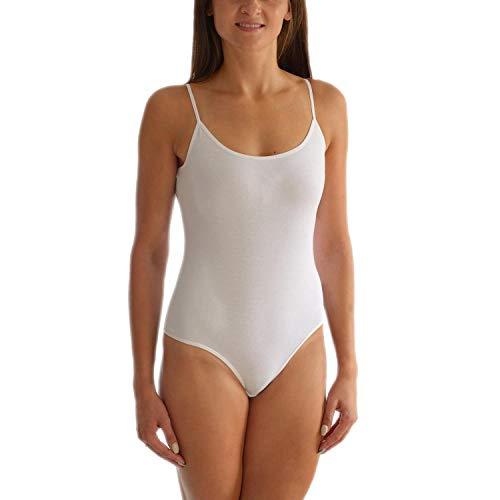 Alkato Damen Body mit Spaghettiträger L014, Farbe: Weiß, Größe: 38