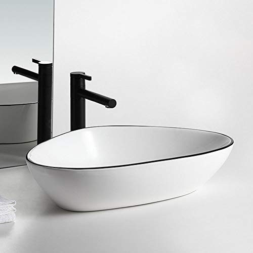Great Deal! XUROM Basin Vessel Sink Bathroom Vessel Sink Boat Shape Above Counter Ceramic Countertop...
