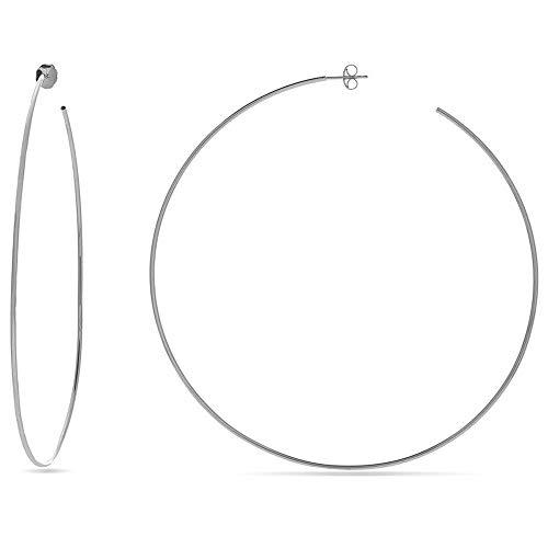Ani's Pendientes de aro finos de 90 mm para mujeres y niñas en oro blanco de 14 quilates chapado en plata de ley 925
