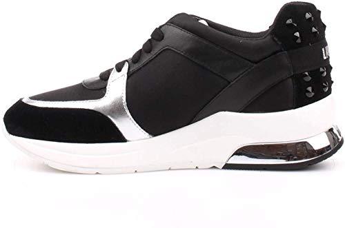 LIU JO Sneakers B18021T2039/22222 Donna running miranda con logo zeppa 50, nero/bianco in camoscio naylon nuova collezione promavera estate 2018