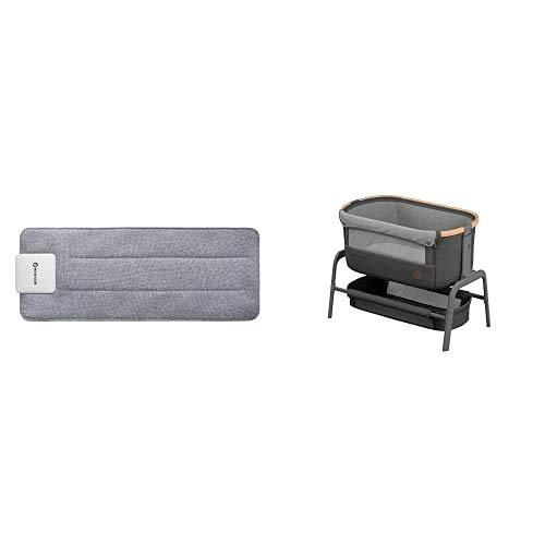 Maxi-Cosi Iora Co-Sleeper, Bedside Crib with Easy Slide Function, Suitable from Birth, 0 Months - 9 kg, Essential Graphite with e-Snooze Baby Sleep Tracker