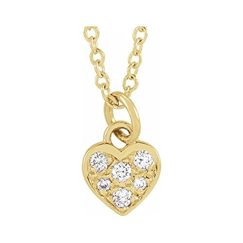 Collar de oro amarillo de 14 quilates con diamante redondo I1 H+ 16 pulido de 06 quilates con forma de corazón pequeño de amor, regalo para mujer – 46 centímetros