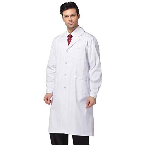 QQI Camice Bianco da Laboratorio, Traspirante Uomo Uniforme Professionale Manica Lunga Abbigliamento da Medico, Laboratorio, Infermiera, Tecnico-Morbido e Confortevole Camice Bianco. Stile 004