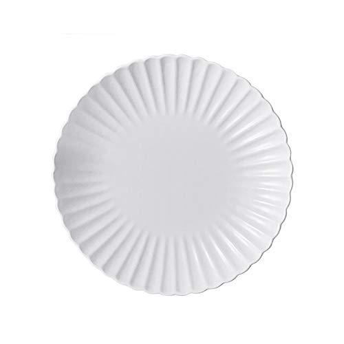 Platos Llanos Placa de Cena de cerámica Blanca, Placa de Desayuno Personalizada, Placa de Ensalada de Postre en Forma de crisantemo, Caja Fuerte de microondas. Vajilla Porcelana