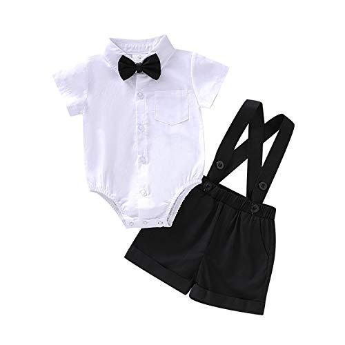 OPAWO 3-teiliges Baby-Outfit für Jungen, Gentleman-Outfit, Hemd, Fliege, Hosenträger, Hose für Kleinkinder, Geburtstag, Party, Kuchen, Fotoshooting, Hochzeit, Taufe Gr. 80, Kurz-weiß+schwarz