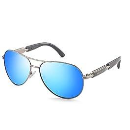 Polarized Sunglasses for Women Men Metal Frame Mirrored Lens Driving Fashion Oversized Eyewear 16884