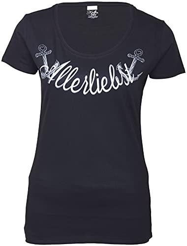Küstenluder Damen Oberteil Allerliebst Anker Shirt Schwarz 5XL