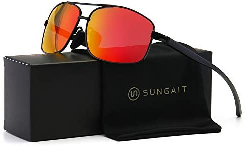 SUNGAIT Ultra Lightweight Rectangular Polarized Sunglasses UV400 Protection Black Frame Red product image
