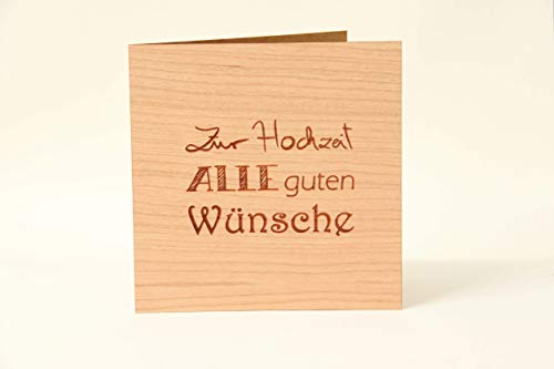 Holzgrußkarten Glückwunschkarte zur Hochzeit - 100% Made in Austria - Karte besteht aus Kirschholz - einzigartige Hochzeitskarte für das Ehepaar, auch als Einladungs-Karte und Wedding Card geeignet