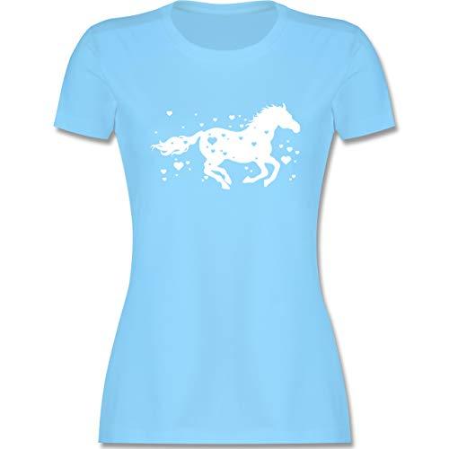 Pferde - Pferde mit Herzen - L - Hellblau - Tshirt Pferde Frauen - L191 - Tailliertes Tshirt für Damen und Frauen T-Shirt