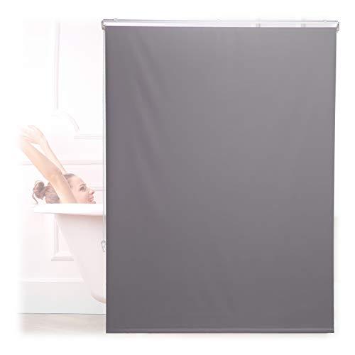 Relaxdays Duschrollo, 120x240 cm, Seilzugrollo für Dusche & Badewanne, Decke & Fenster, Badrollo wasserabweisend, grau, 10034185_1047