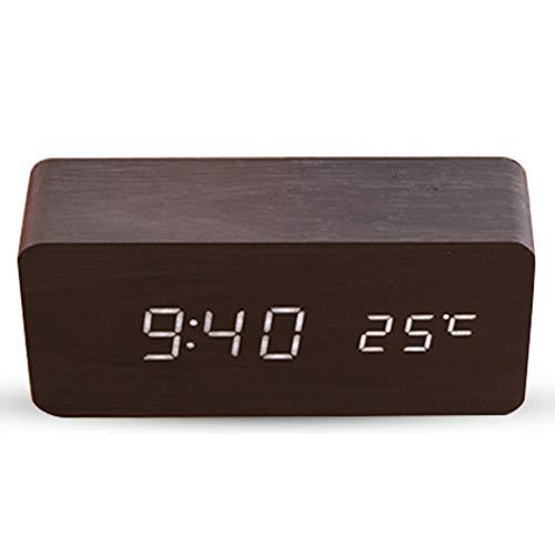 Digitale wekker, stille led-weergave, instelbare helderheid/geluidsbediening, tafelklok-indicator, kalender en temperatuur voor huis en kantoor
