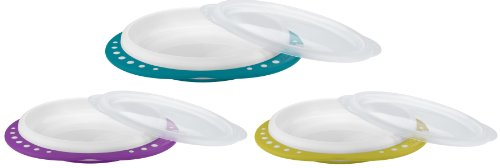 NUK 10255049 - EASY LEARNING Esslern-Teller mit Deckel, Anti-Rutsch-Griffe, rutschfester Boden, BPA-frei, Farbe nicht frei wählbar
