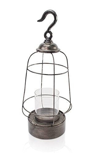 Chiccie windlicht zwart in industriële look van metaal - goud/zilver met glazen inzetstuk theelichthouder kaarsenhouder lantaarn