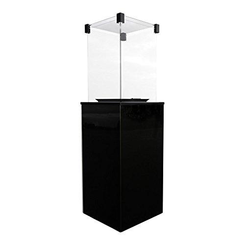 Gaskamin PATIO mit schwarz Glaspaneelen Gasheizgerät für Terrassen, Gärten